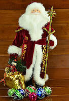Дед Мороз (под елку) 53 см бордо в золоте