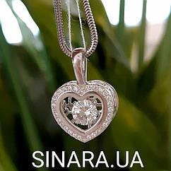 Брендовый кулон Сердце с двигающимся фианитом внутри - Серебряная подвеска Сердце с цепочкой снейк