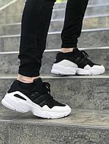 Мужские кроссовки Adidas черно-белые топ реплика, фото 3