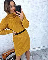 Вязанное платье-туника горчичное, фото 1