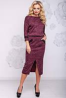 Эффектное Платье Карандаш из Ангоры с Разрезом Марсала М-2XL, фото 1
