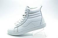 Белые кеды в стиле Vans Old Skool, White (Зимние на меху) Ванс