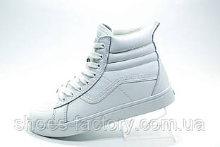 Белые кеды в стиле Vans Old Skool, White (Зимние на меху) Ванс