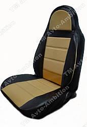 Чехлы на сиденья Ауди А4 Б7 (Audi A4 B7) (универсальные, экокожа Аригон) черно-бежевый