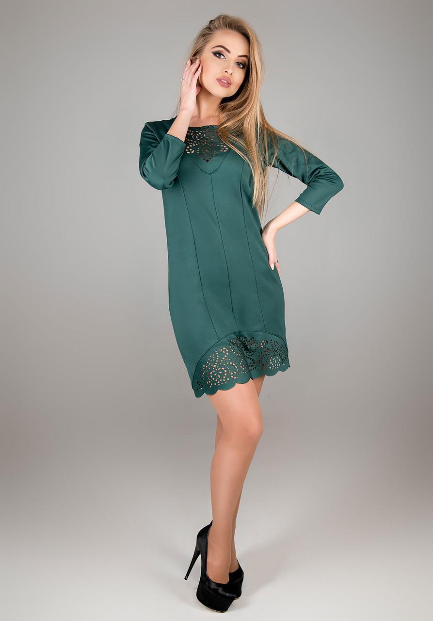 Женское молодежное платье Форина прямого силуэта / размер 44-52 / цвет зеленый