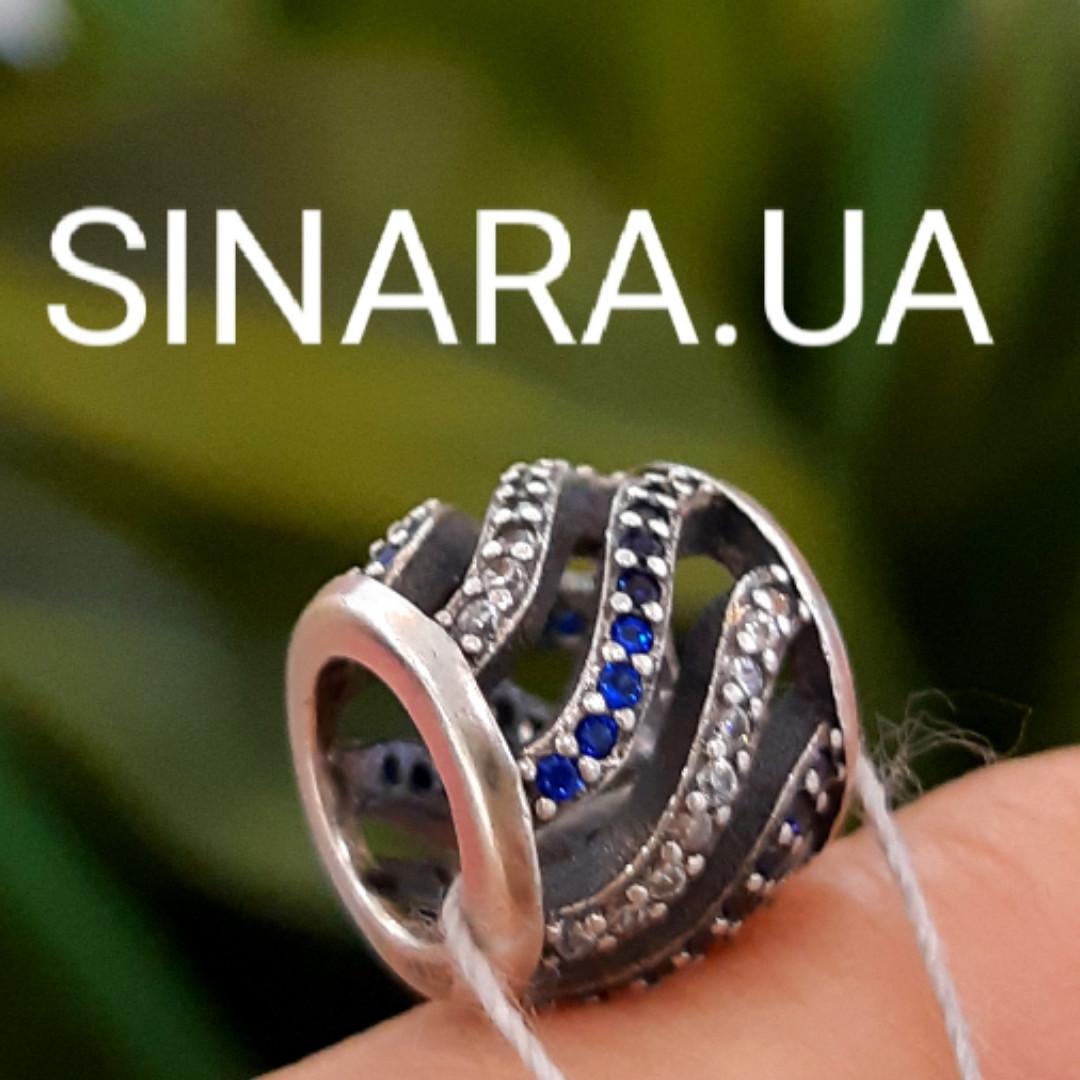 Шарм бусина Пандоры синие волны серебро 925 пробы