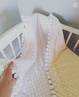 Детское одеяло конверт теплое минки плюш с бубонами