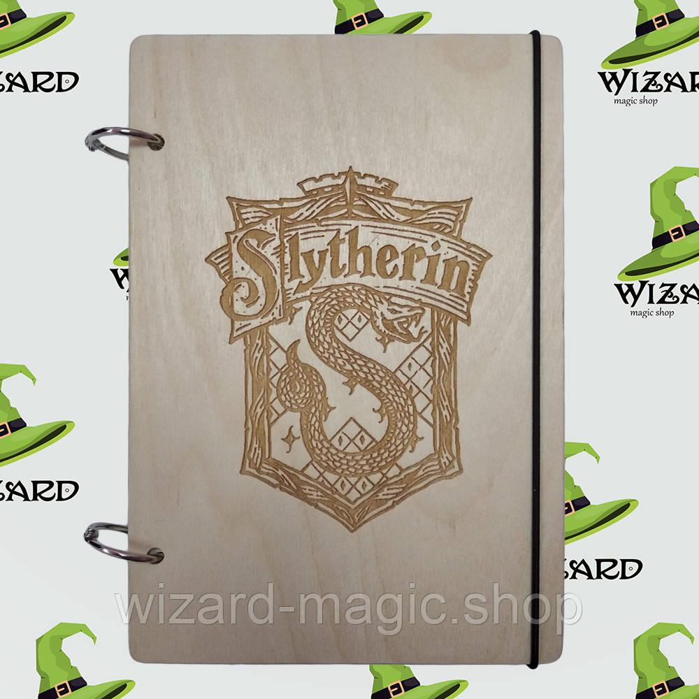 Скетчбук с деревянной обложкой (А5 не лак) Слизерин