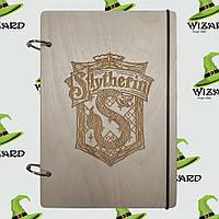 Скетчбук с деревянной обложкой (А5 не лак) Слизерин, фото 1