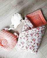 Детское одеяло зимнее минки плюш персиковое для девочки