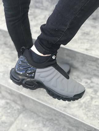 Мужские кроссовки Nike серые с черным топ реплика, фото 2