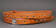 Ремень поясок женский кожаный с заклёпками «Шарнир» Svetlana Zubko ДхШ: 123х1,5 см. рыжий 2D15414
