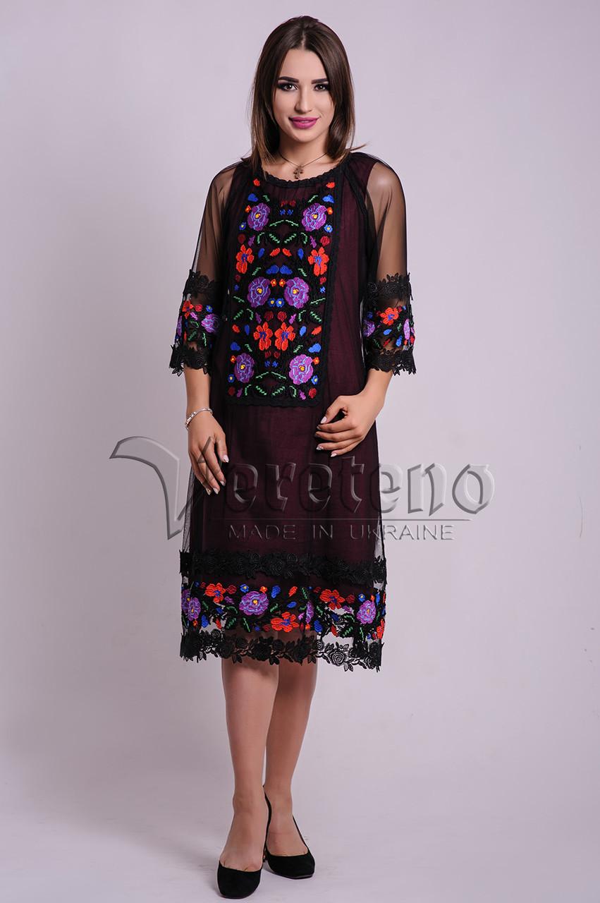 Вишита жіноча сукня на сітці 0fa951b4ab350