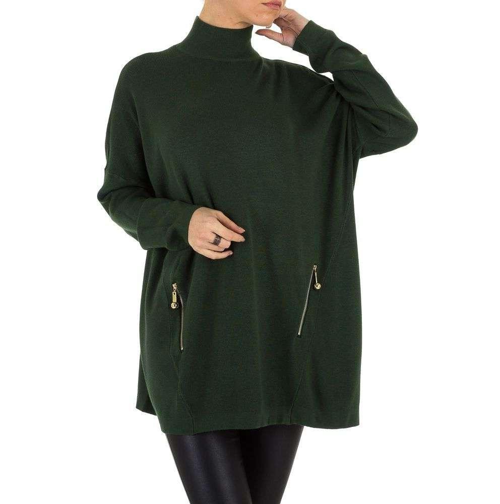 Женский свитер оверсайз с карманами на молниях (Европа), Темно-зеленый