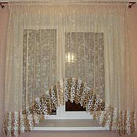 """Кухонні тюль """"Верона"""" венеціанська сіточка з мереживом 3 м пісочна золото, фото 1"""