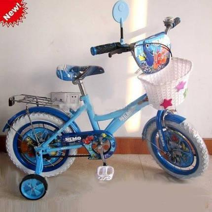 """Детский двухколесный велосипед Profi P1648NM-W 16 дюймов """"В поисках Немо"""", корзина, белые колеса, фото 2"""