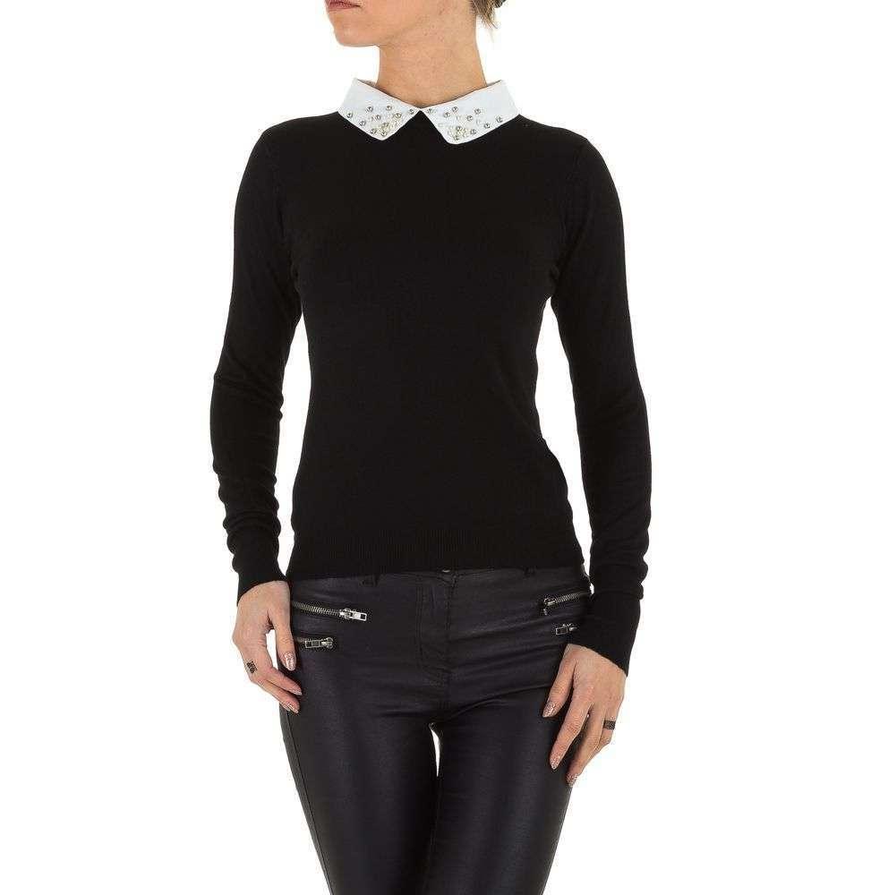 Женский джемпер с воротником рубашки и бусинами (Европа), Черный