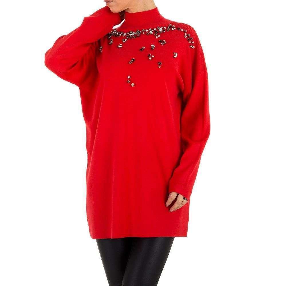 Женский свитер удлиненный с бусинами и камнями (Европа), Красный