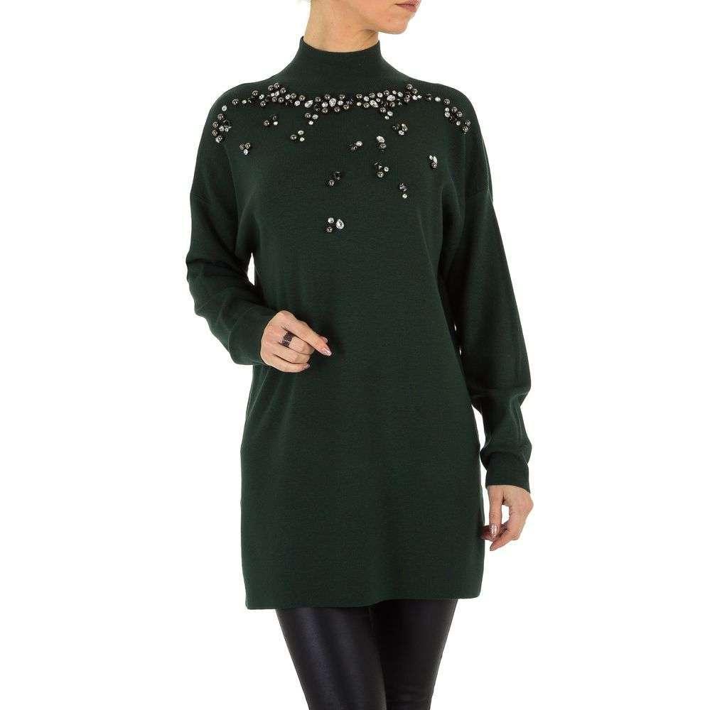 Женский свитер удлиненный с бусинами (Европа), Темно-зеленый