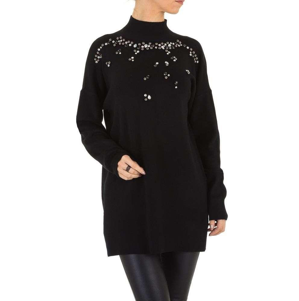 Женский свитер удлиненный с бусинами и камнями (Европа), Черный