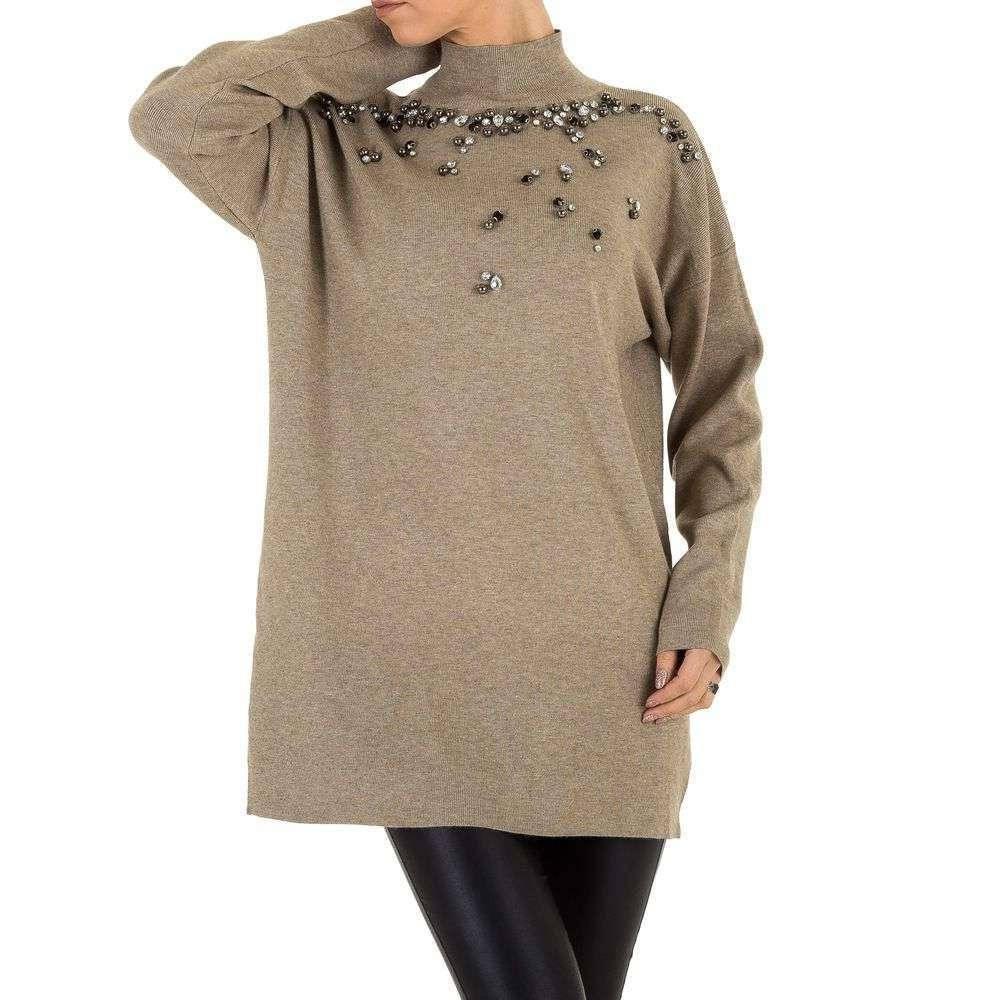 Женский свитер удлиненный с бусинами и камнями (Европа), Бежевый