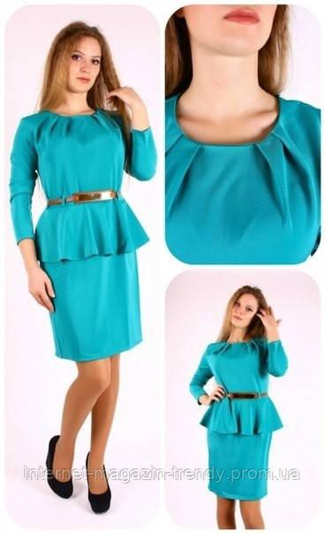 Платье из костюмной ткани с баской( в расцветках) 136