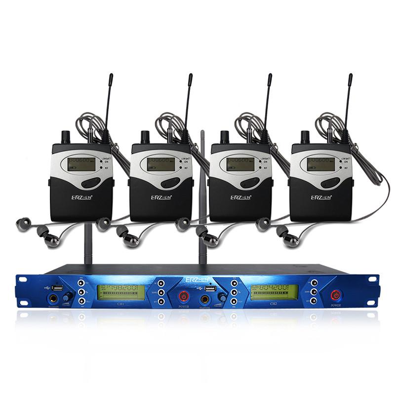 ERzhen One до четырех двухканальных беспроводных Наушник Kara Karaoke Stage Микрофон Система мониторинга - 1TopShop