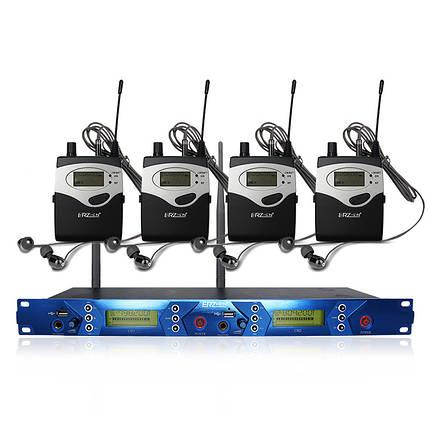 ERzhen One до четырех двухканальных беспроводных Наушник Kara Karaoke Stage Микрофон Система мониторинга - 1TopShop, фото 2