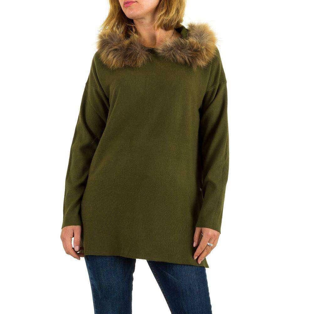 Женский джемпер оверсайз с мехом и капюшоном (Европа), Зеленый