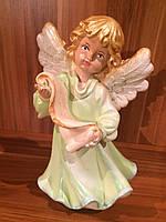 Статуэтка Ангел  девочка с папирусом большая салатового цвета