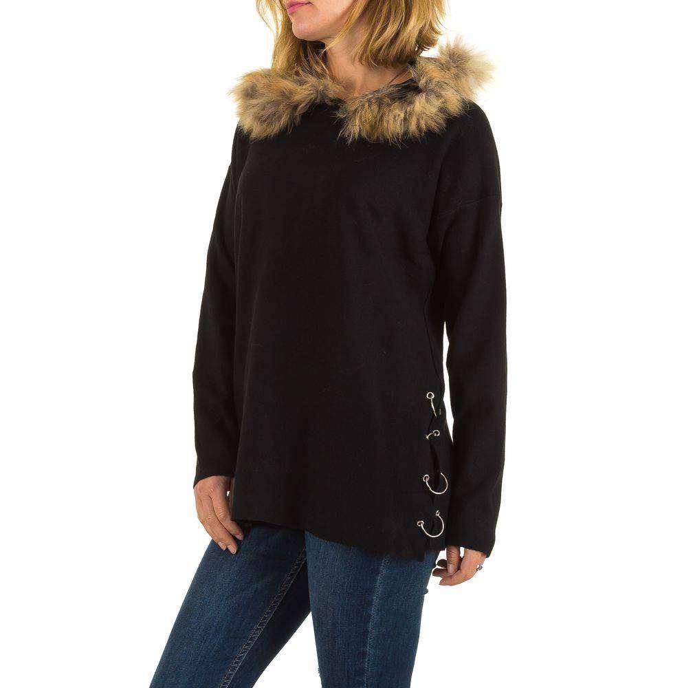 Женский джемпер оверсайз с мехом и капюшоном (Европа), Черный