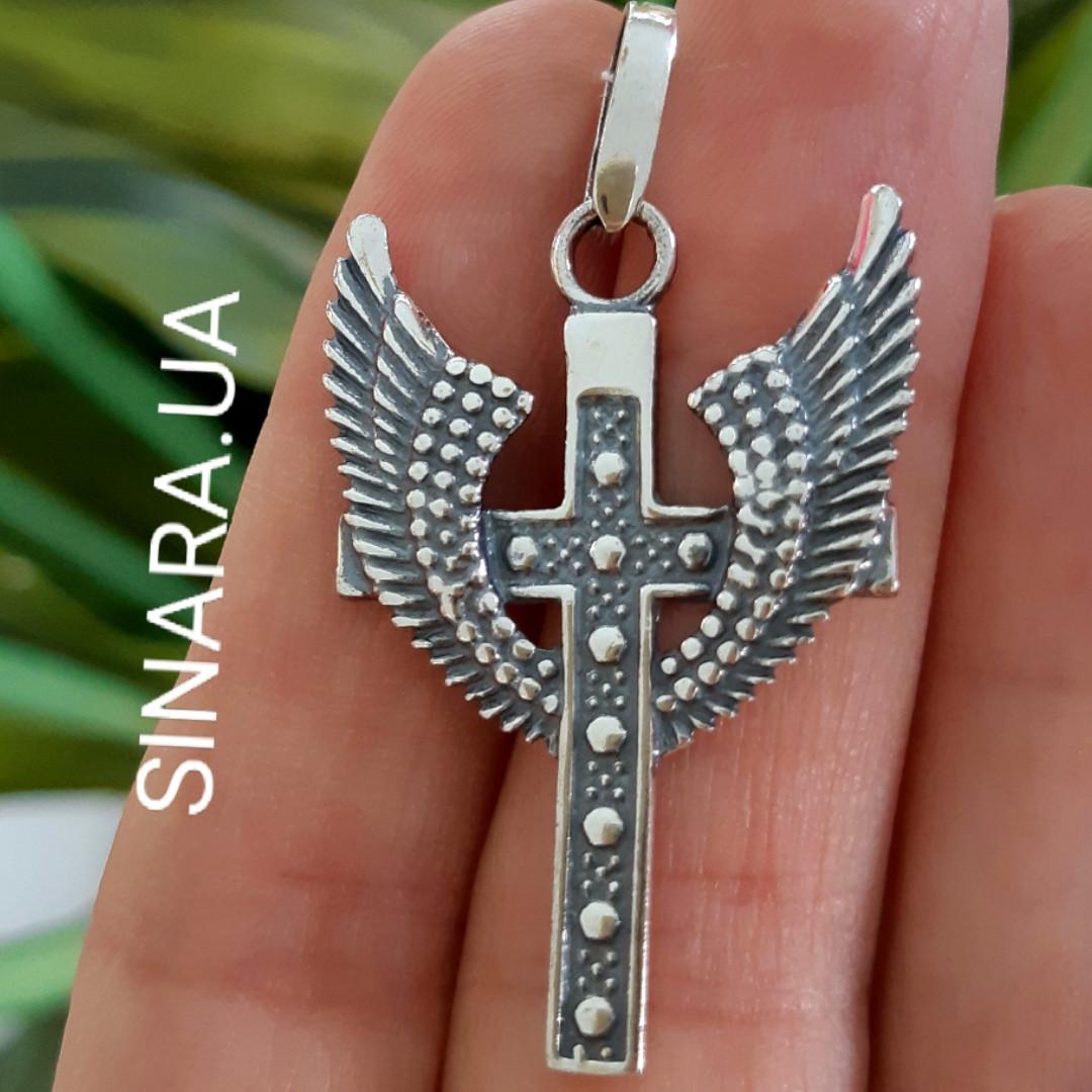Серебряный крест Анкх с крыльями - Кулон Анкх