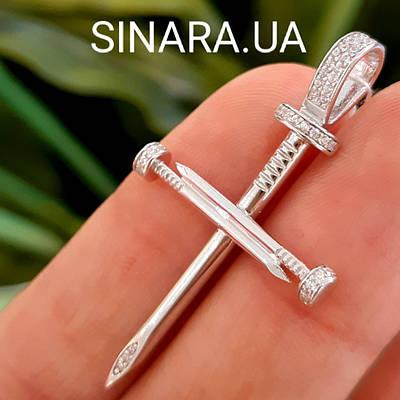 Брендовый серебряный крестик с гвоздями Каратье