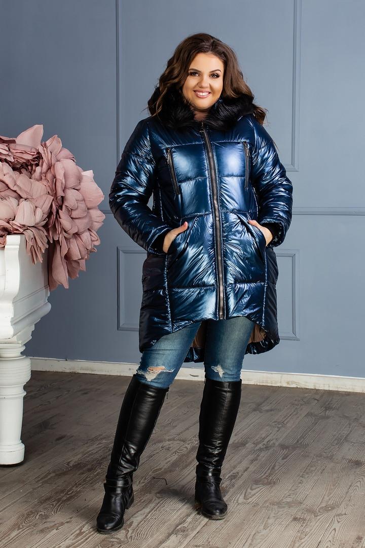 """Асимметричная зимняя женская куртка """"FOIL"""" с карманами и капюшоном (большие размеры)"""