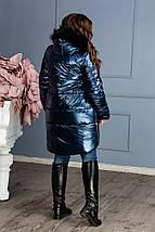 """Асимметричная зимняя женская куртка """"FOIL"""" с карманами и капюшоном (большие размеры), фото 3"""