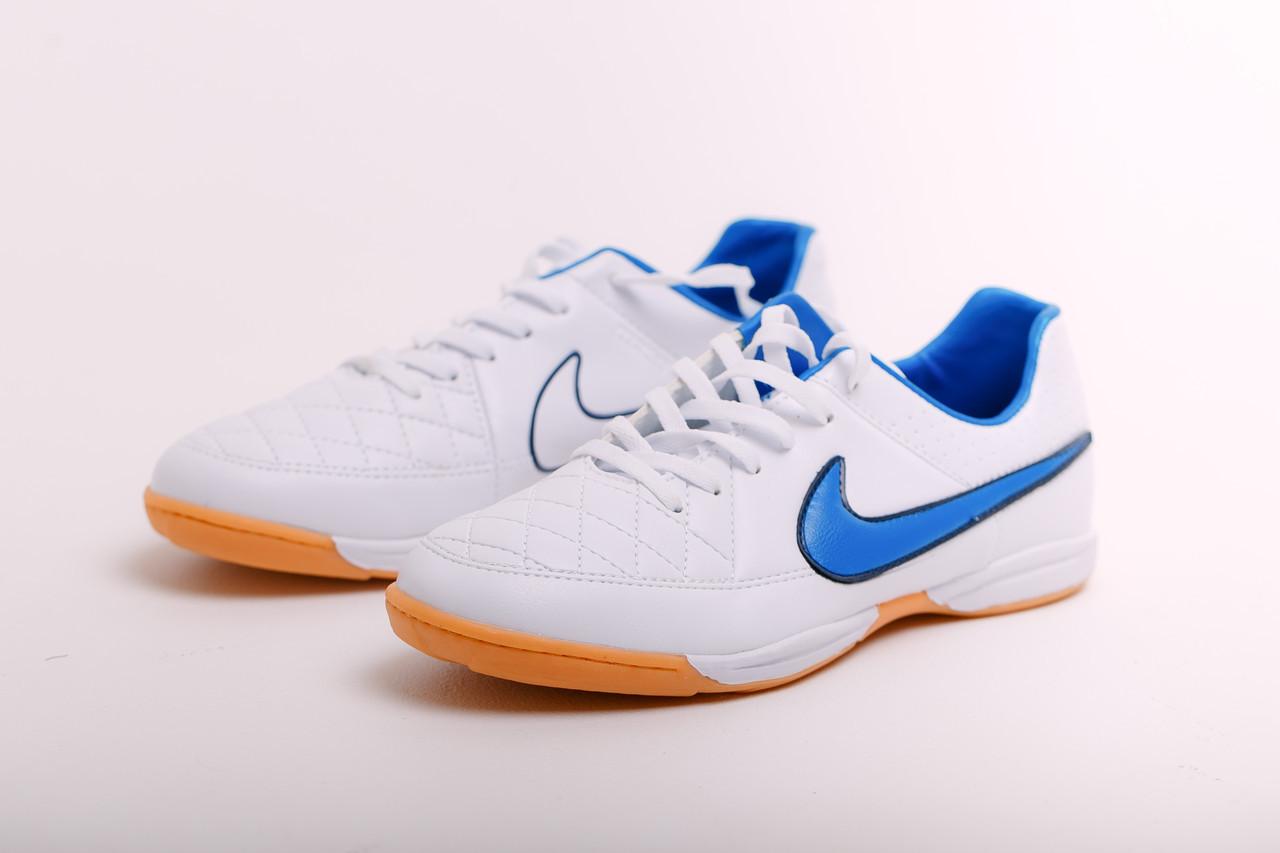 ec3b84af Футзалки Nike Tiempo (реплика) 1074 Белые с синим - Интернет-магазин