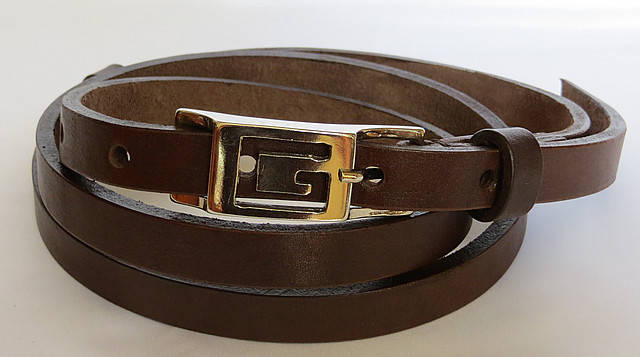 Ремень поясок женский кожаный «Шарли» Svetlana Zubko ДхШ: 130х1,5 см. коричневый 3K152, фото 2