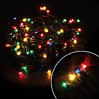 """Гирлянда светодиодная нить """"Мini lamp"""", 100 led, 8м черный провод - цвет разноцветный"""