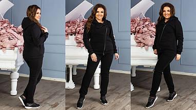 """Теплый женский спортивный костюм """"RIDER"""" с карманами и капюшоном (большие размеры), фото 3"""