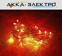 Гирлянда 100 LED 5mm на прозрачном проводе, 9m красная