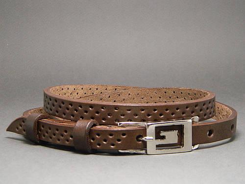 Ремень узкий женский кожаный «Трио» Svetlana Zubko ДхШ: 130х1,5 см. коричневый 3F15227