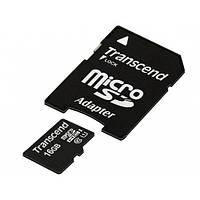 Карта памяти Transcend microSD 16GB UHS-I с SD
