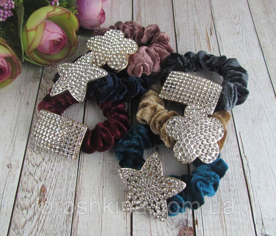 Бархатные резинки для волос цветные с  белыми стразами 12 шт/уп