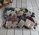 Бархатные резинки для волос цветные с  белыми стразами 12 шт/уп, фото 4