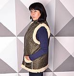 Женская жилетка стеганая из овчины UkrCamo ЗБ 54р. Зеленая, фото 3