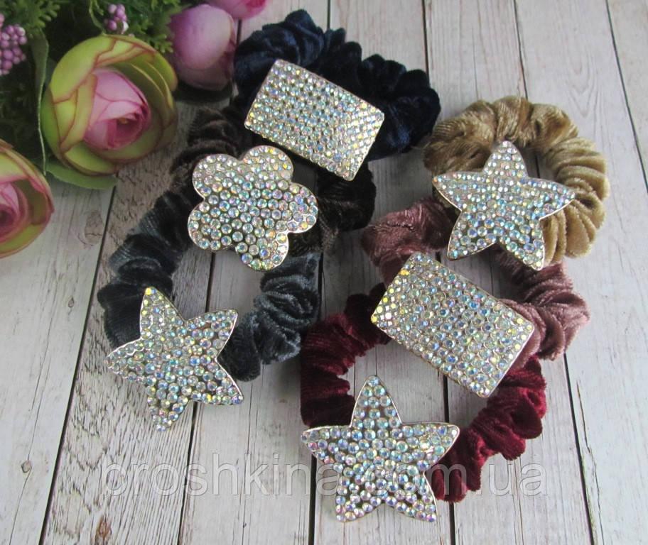 Бархатные резинки для волос цветные со стразами хамелеон 12 шт/уп