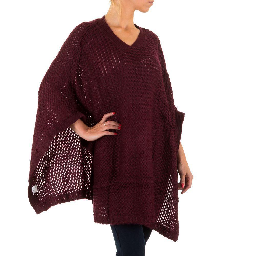 Женское вязаное пончо (Европа),  универсальный размер, Бордовый