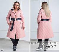 Куртка длинная под пояс с карманами плащевка+200 синтепон 42-44,46-48