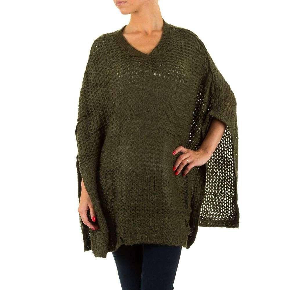Женское вязаное пончо (Европа), Темно-зеленый