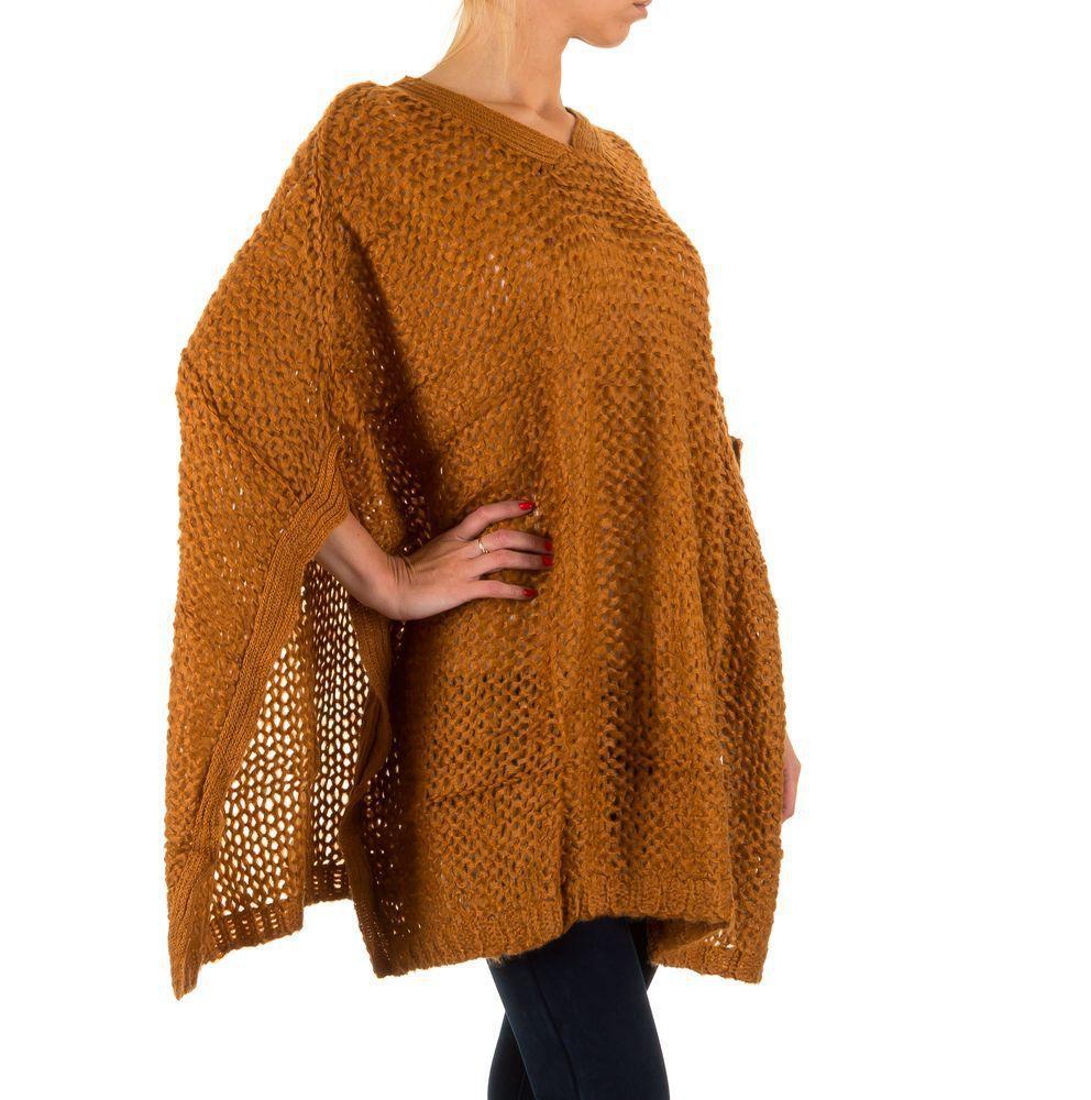Женское вязаное пончо (Европа),  универсальный размер, Горчичный